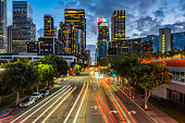 Downtown Los angeles Figueroa St in the evening
