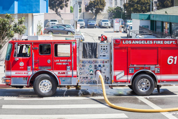 Los Angeles firemen at work