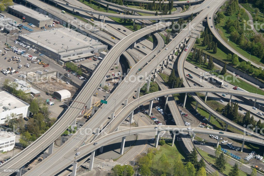 Los Angeles Freeway Aerial stock photo