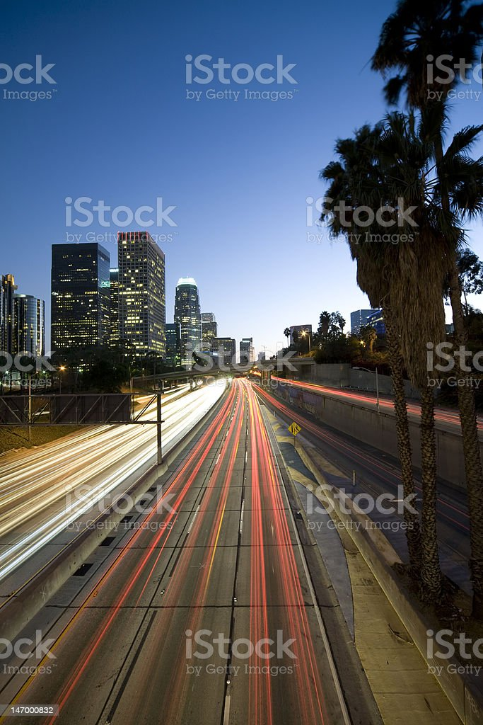 Los Angeles freeway at night royalty-free stock photo