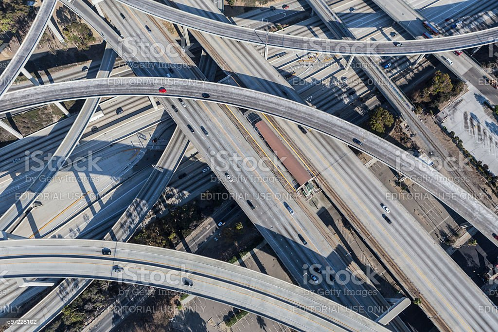 Los Angeles Freeway Bridges and Ramps stock photo