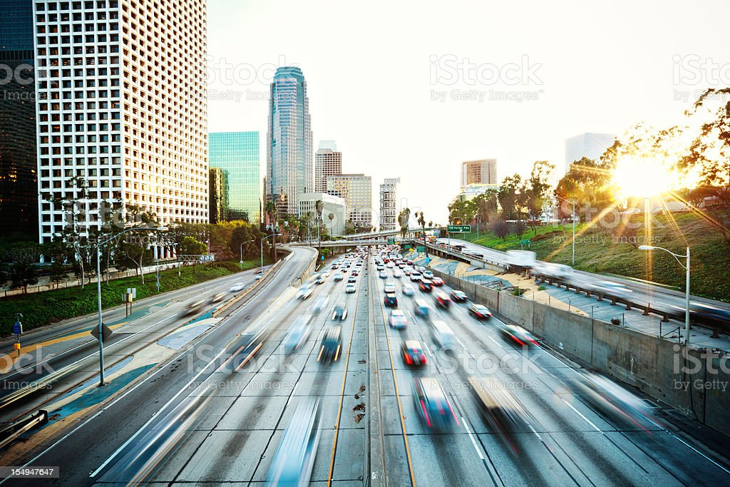 Los Angeles freeway during rush hour royalty-free stock photo
