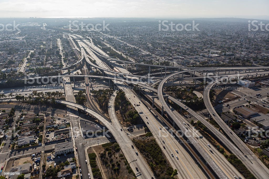 Los Angeles Freeway Interchange Aerial stock photo