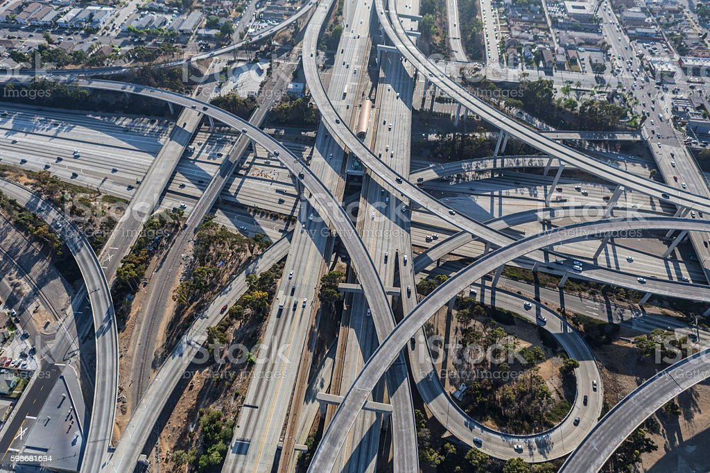 Los Angeles Freeway Interchange Ramps Aerial stock photo