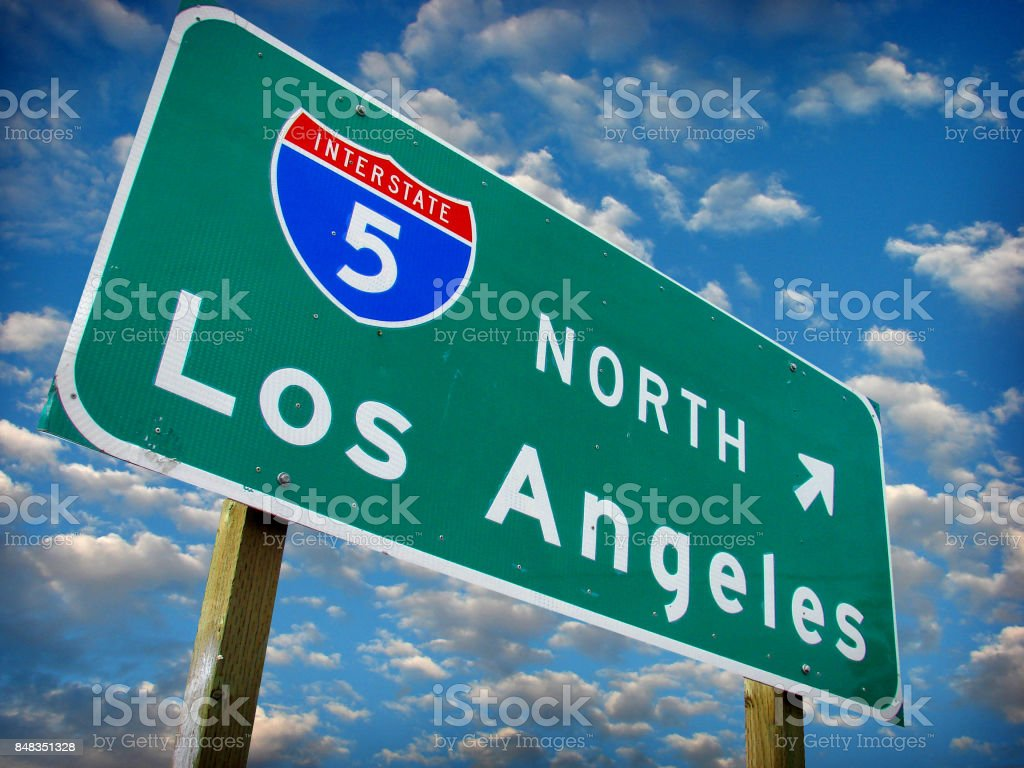 Los Angeles freeway sign stock photo