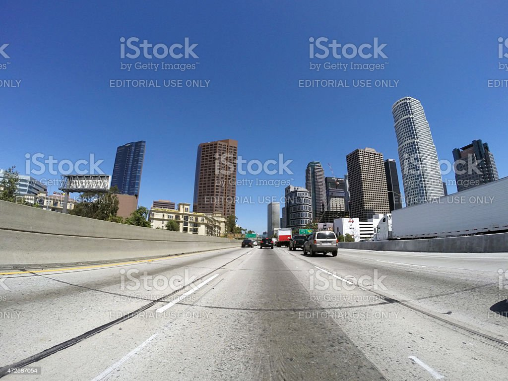 Los Angeles Freeway Towers stock photo