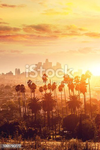 Los Angeles golden hour cityscape over downtown skyscrapers