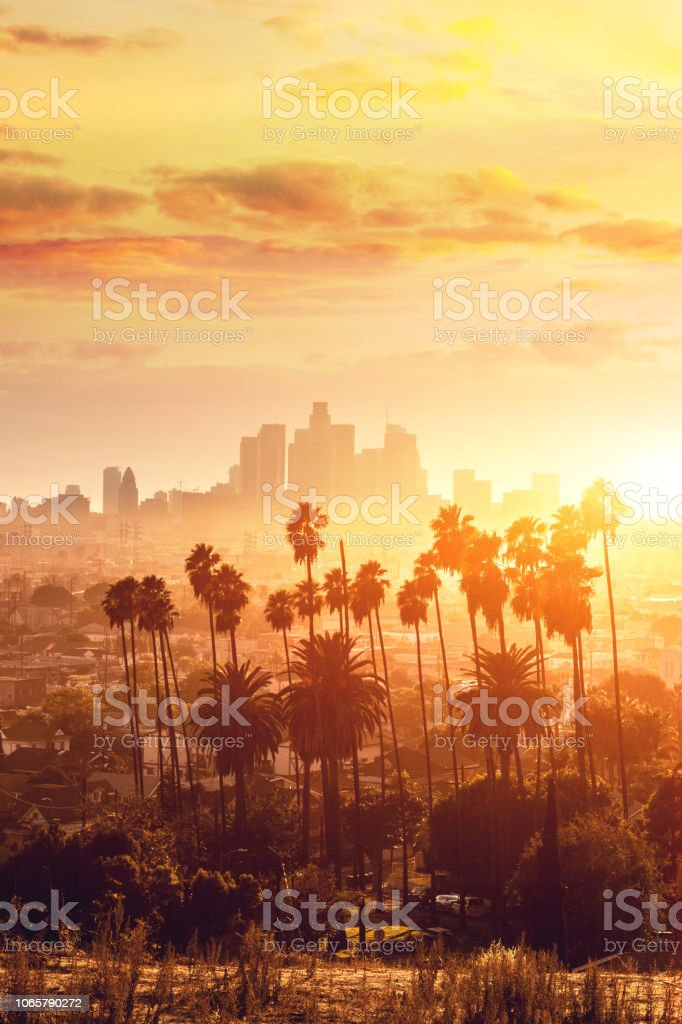 Los Angeles golden hour cityscape over downtown skyscrapers stock photo