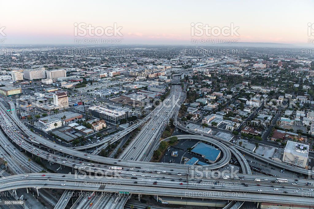 Los Angeles Harbor and Santa Monica Freeways After Sunset stock photo