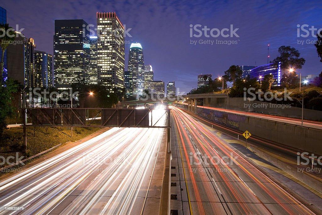 Los Angeles highway at night royalty-free stock photo