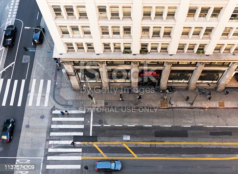 istock Los Angeles Historic Core streets from above 1137574209