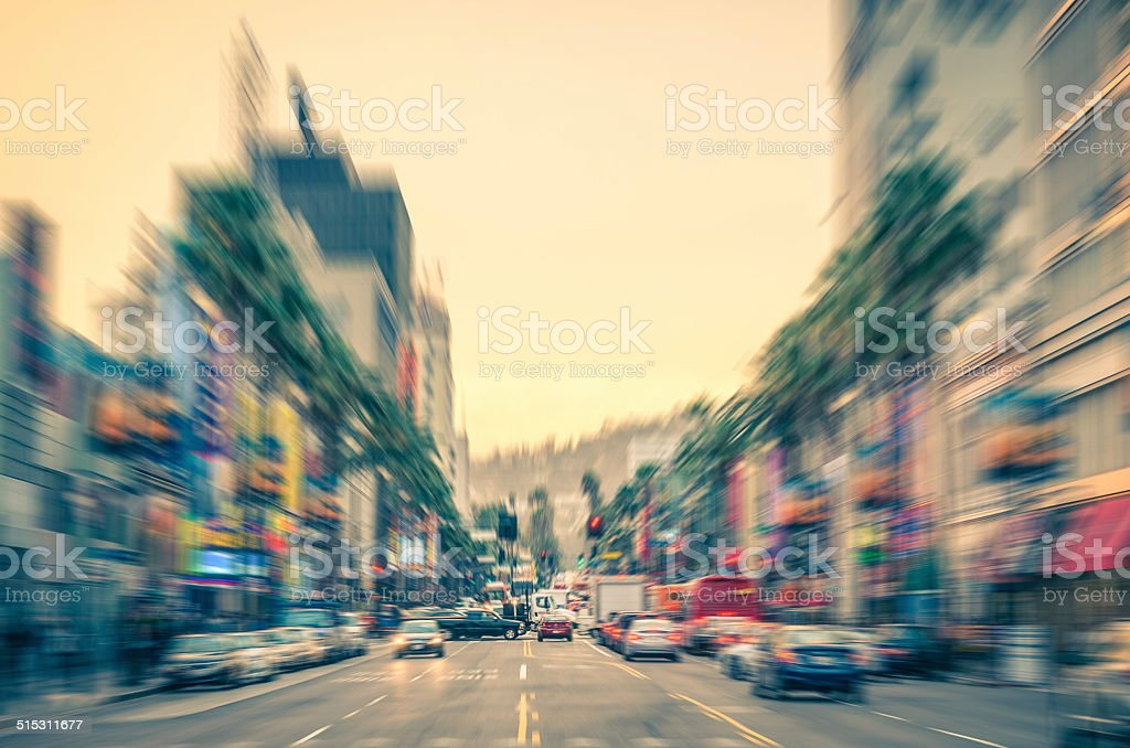 Los Angeles - Hollywood Boulevard and Walk of Fame stock photo