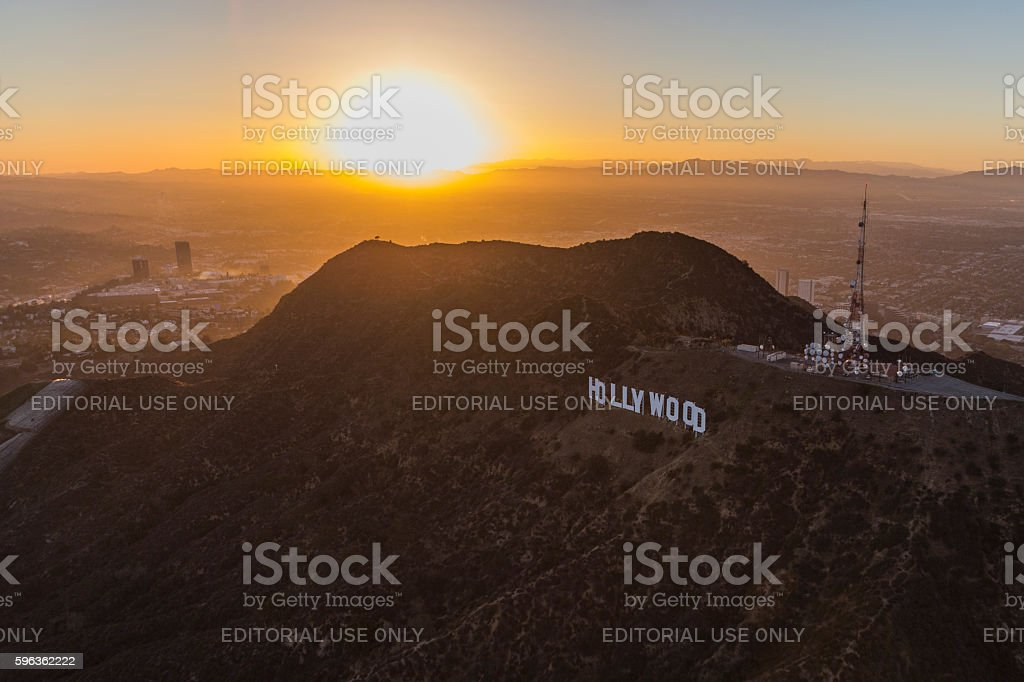 Los Angeles Hollywood Sign Aerial royalty-free stock photo