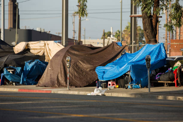 Los Angeles Homelessness View of the homeless encampments along Central Avenue in Downtown Los Angeles, California. tent stock pictures, royalty-free photos & images