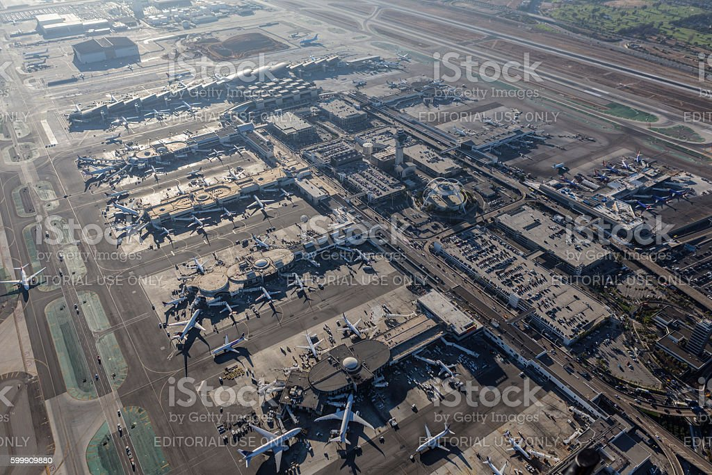 Los Angeles International Airport Aerial View stock photo
