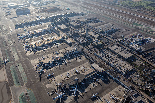 Los Angeles International Airport Aerial View - foto de acervo