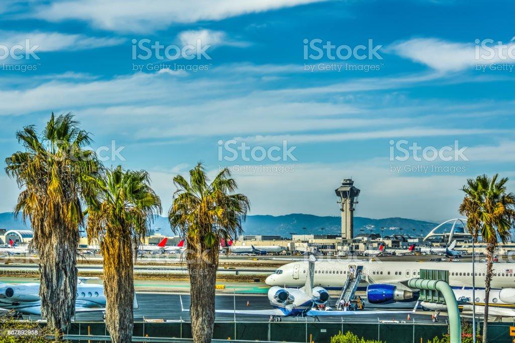 Avental de Aeroporto Internacional de Los Angeles - foto de acervo