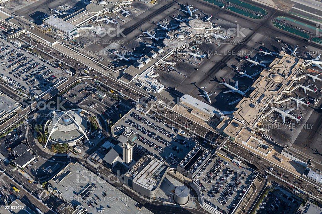 Los Angeles International Airport Buildings Aerial - foto de acervo