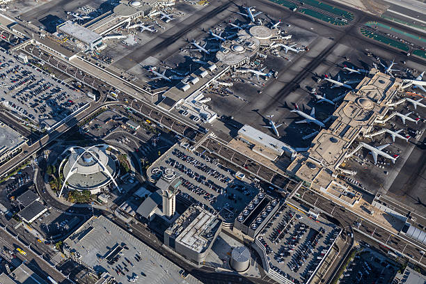 Los Angeles International Airport Buildings Aerial - foto de acervo