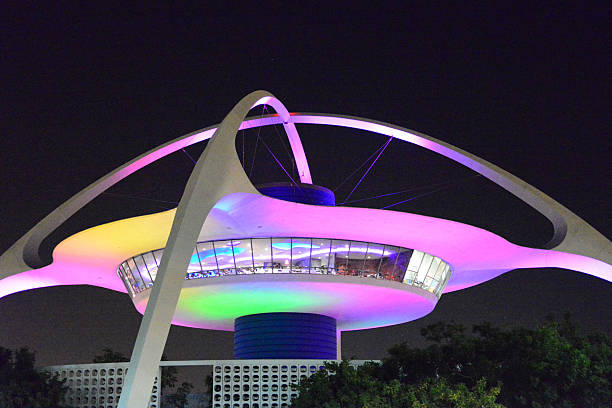 Aeroporto Internacional de Los Angeles-noturnos, Califórnia, EUA - foto de acervo