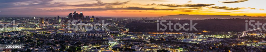 Los Angeles Lights on Dramatic Evening - Aerial Panorama stock photo