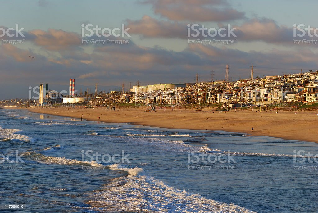 Los Angeles Meets the Pacific Ocean stock photo