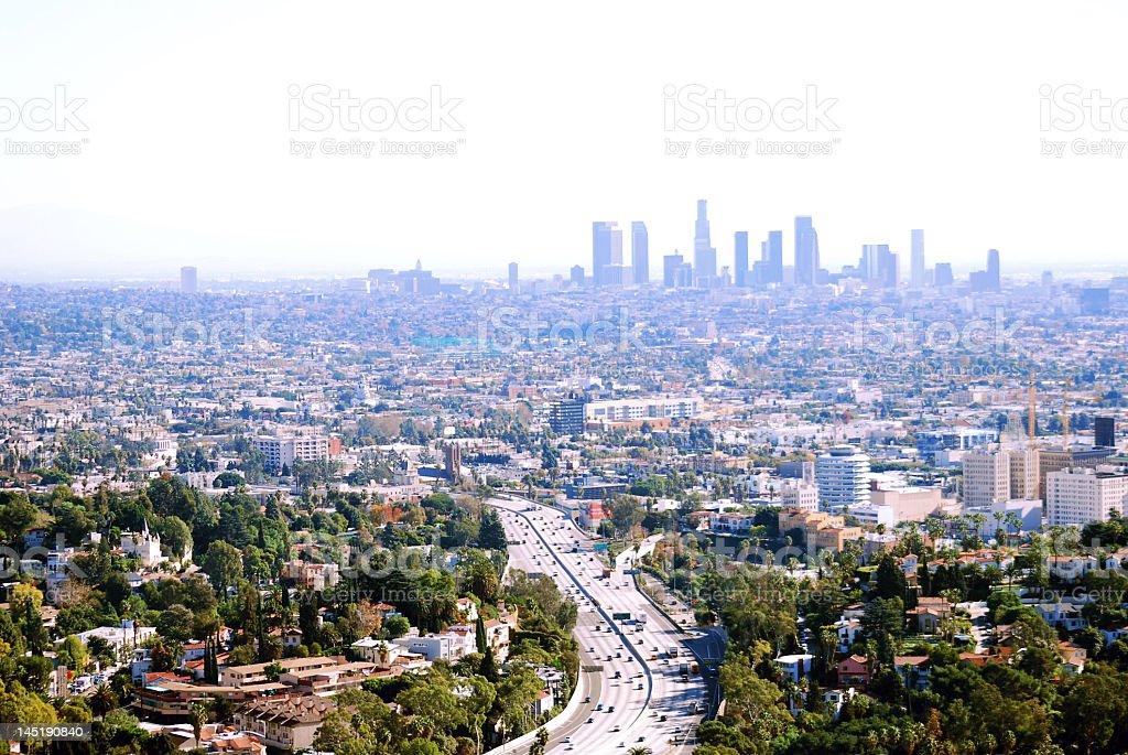 Los Angeles metropolitan area view with downtown on horizon stock photo