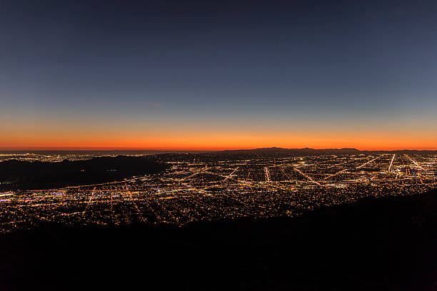 los angeles mountain view twilight - san fernando valley stock photos and pictures