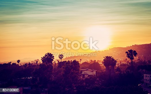 Los Angeles mountains with palm trees at sunset. Vintage tone