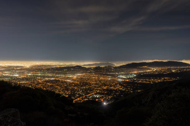 Los Angeles Night Mountaintop View stock photo