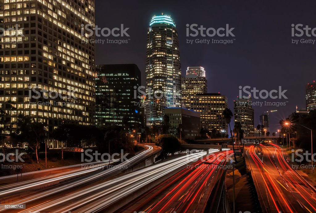 Los Angeles Night Scene stock photo