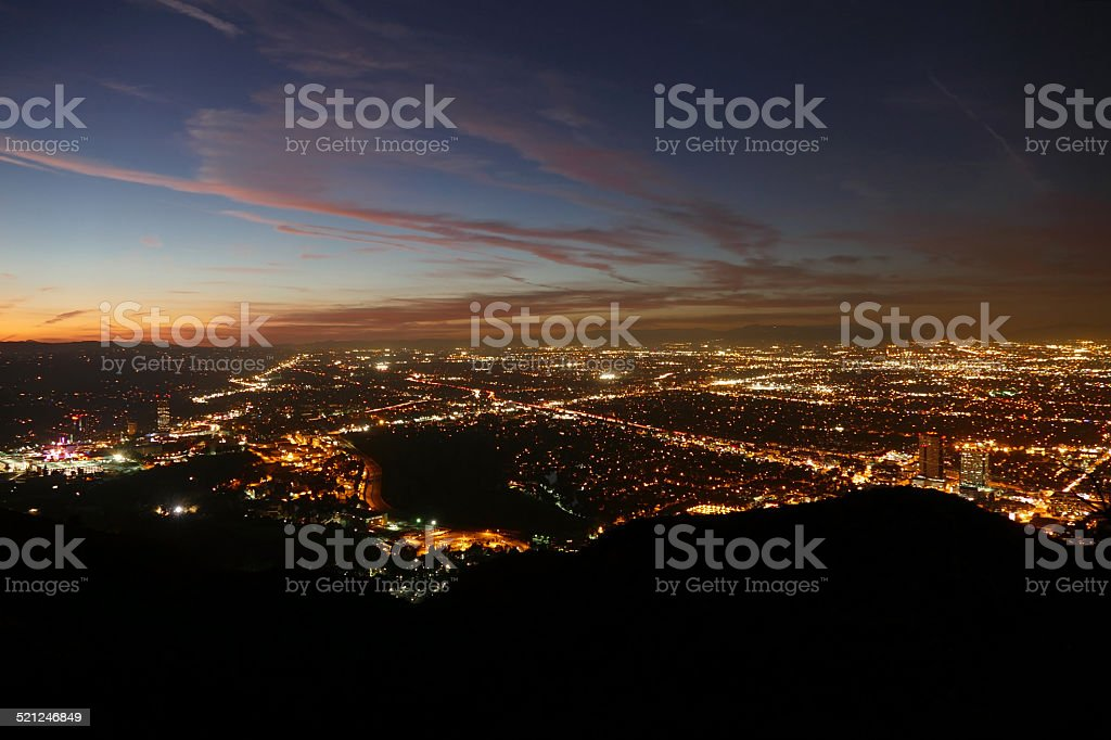 Los Angeles Night Valley View stock photo