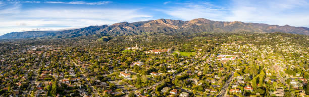 los angeles north highlands burbank glendale panoramic drone shot - san fernando valley stock photos and pictures