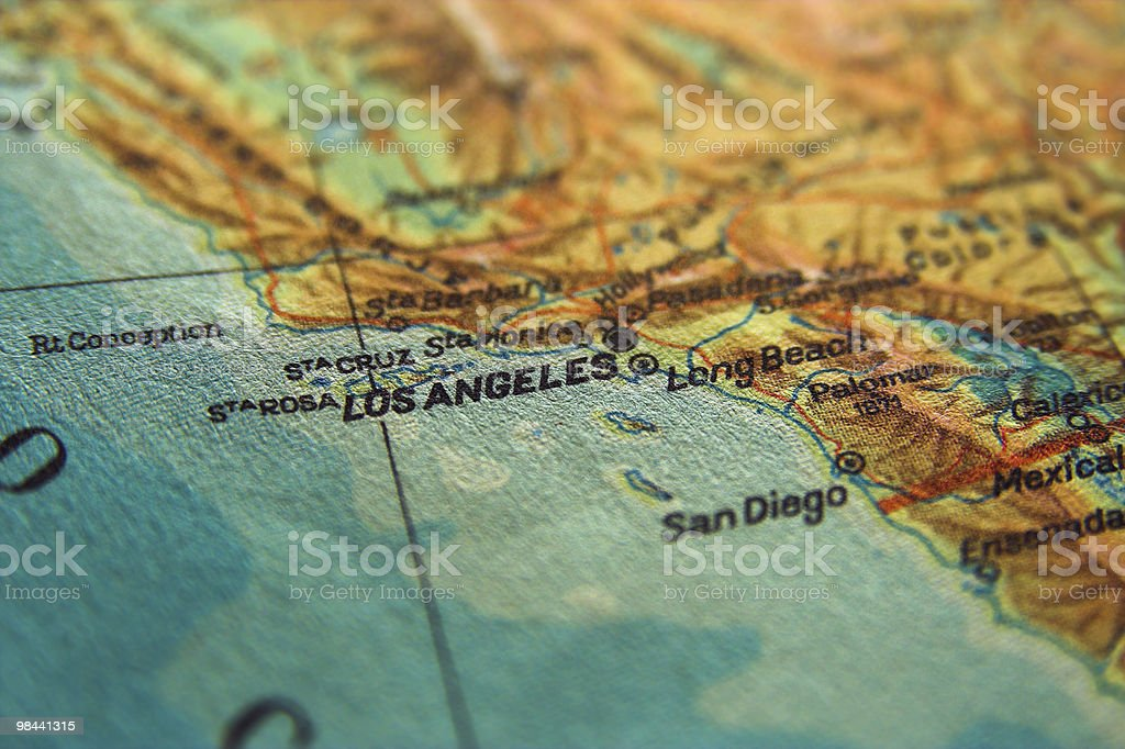 Los Angeles on map royalty-free stock photo