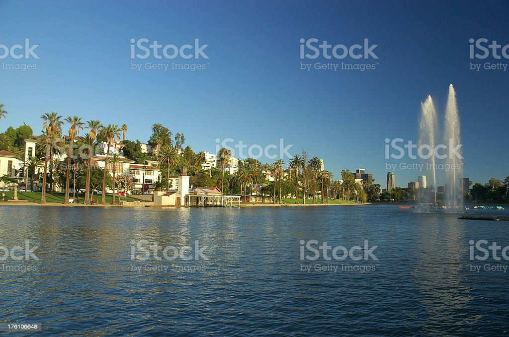 Los Angeles Park, lake, neighborhood, and fountains stock photo