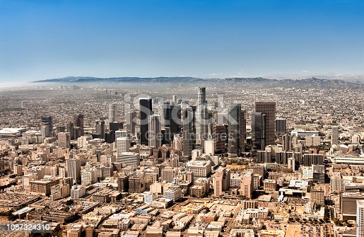 Downtown Los Angeles aerial view.