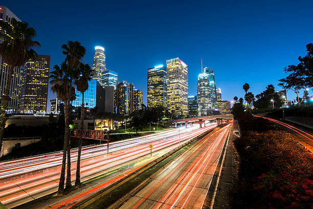 Los Angeles Downtown Los Angeles at night with light trails hollywood california stock pictures, royalty-free photos & images