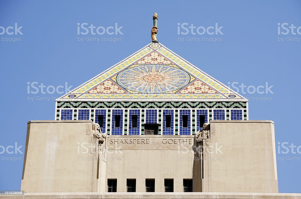 Los Angeles Public Library Pyramid Roof stock photo