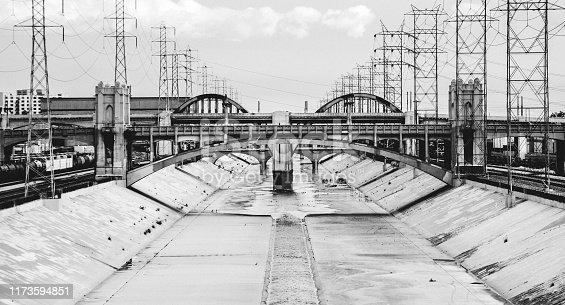Los Angeles River canal. California, USA