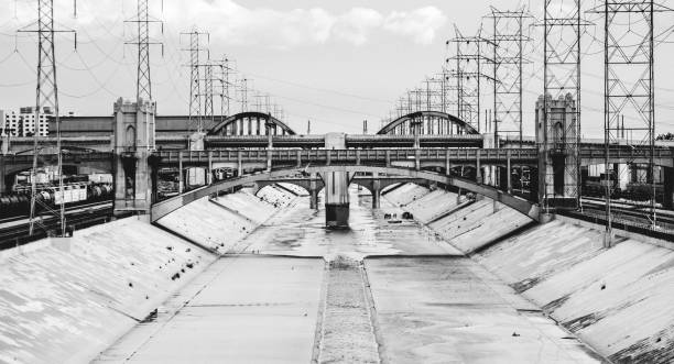 Los Angeles River canal stock photo