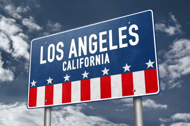 Los Angeles - road sign information stock photo