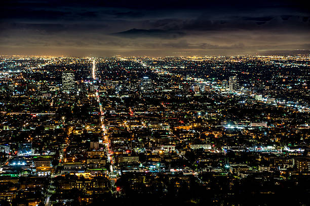 Los Angeles Roads - Night stock photo