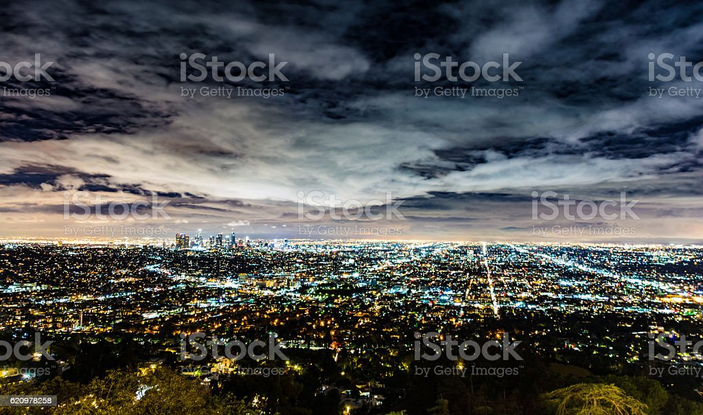 Los Angeles Roads Skyline at Night foto royalty-free