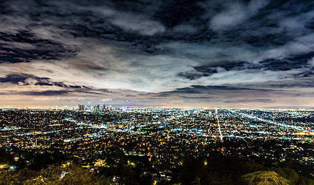 Los Angeles Roads Skyline at Night stock photo