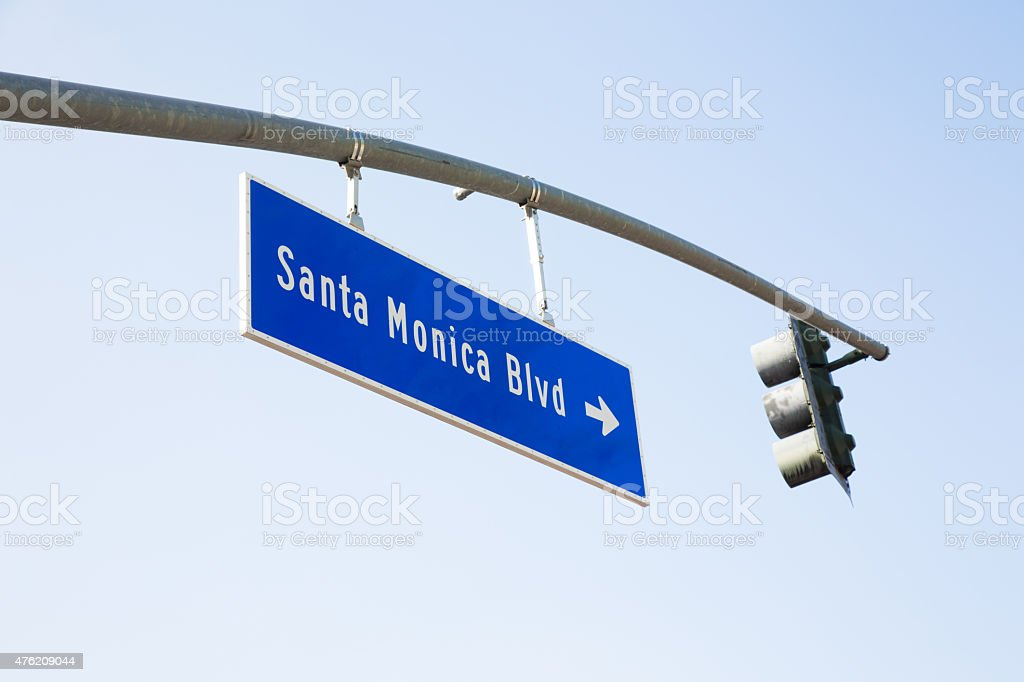 Los Angeles Santa Monica Boulevard street sign traffic lights stock photo