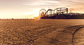 Los Angeles - Santa Monica, California beautiful sunset by the beach