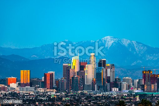 Los Angeles skyline right after sunset