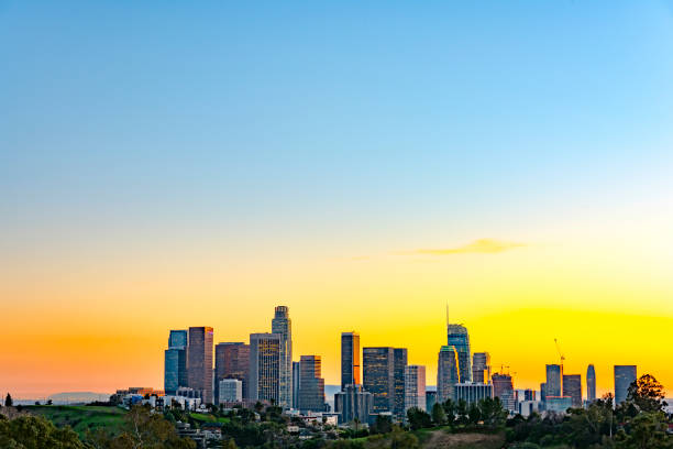 Skyline von Los Angeles nach Sonnenuntergang – Foto