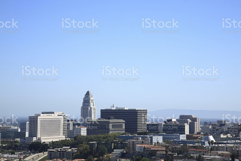 Los Angeles Skyline and City Hall stock photo