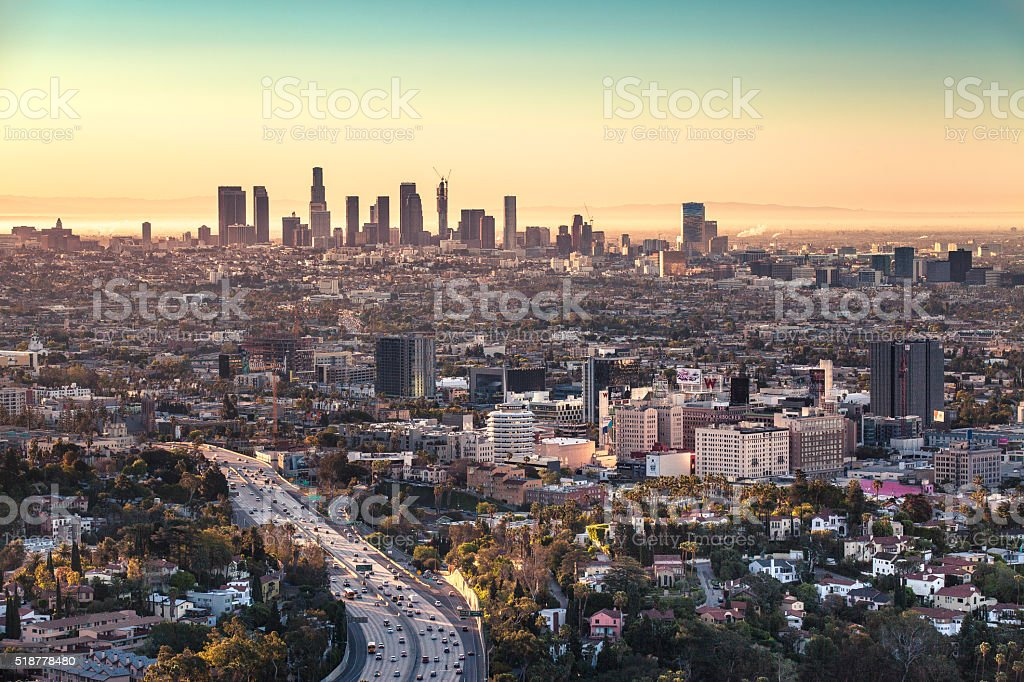 Los Angeles Skyline And Hollwood At Sunrise, Hollwood Bowl Overlook stock photo